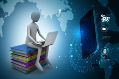 3d man sitting on books and working at his laptop. In color background Royalty Free Stock Image