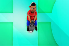 3d man sitting on bottle illustration Royalty Free Stock Images