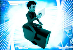 3d man sitting on briefcase and reading paper illustration Stock Photography