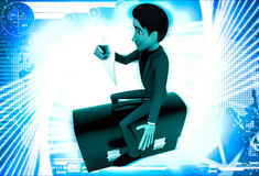3d man sitting on briefcase and reading paper illustration Royalty Free Stock Photography