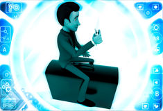 3d man sitting on briefcase and reading paper illustration Royalty Free Stock Image