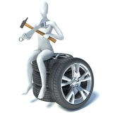 3d man sitting on car wheels Stock Images