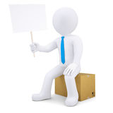 3d man sitting on cardboard box and holding poster Stock Photos
