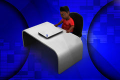 3d man sitting on chair with papers illustration Stock Images