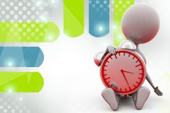 3d man sitting with clock illustration Royalty Free Stock Photography