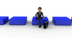 3d man sitting on cube and holdig gear in hand concept Stock Photos