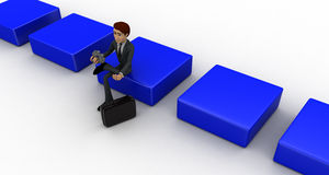 3d man sitting on cube and holdig gear in hand concept Stock Photo