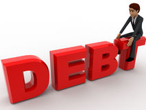 3d man sitting on debt text concept Stock Photos