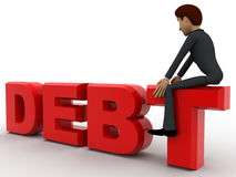 3d man sitting on debt text concept Royalty Free Stock Photo