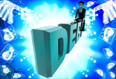 3d man sitting on debt text illustration Royalty Free Stock Image