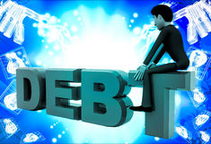 3d man sitting on debt text illustration Stock Photography