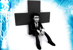 3d man sitting front of cross illustration Royalty Free Stock Photos