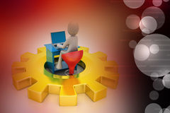 3d man sitting in the gear and chat with laptop Royalty Free Stock Images