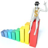 3d man sitting on graph Royalty Free Stock Photography