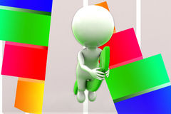 3d Man Sitting On Graph Arrows Illustration Stock Images