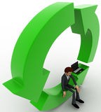 3d man sitting inside green circular arrows concept Royalty Free Stock Photography