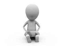 3d man sitting with laptop concept Royalty Free Stock Images