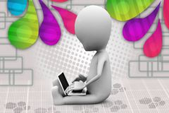3d man sitting with laptop illustration Royalty Free Stock Photos