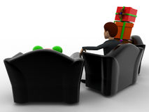 3d man sitting on middle sofa chair with gift boxes on side chairs concept Royalty Free Stock Photos