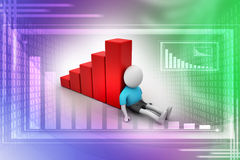 3d man sitting near the bar graph. In attractive color background Stock Images