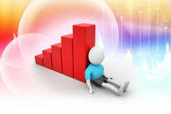 3d man sitting near the bar graph. In attractive color background Royalty Free Stock Photo