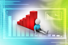3d man sitting near the bar graph. In attractive color background Stock Photos