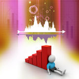 3d man sitting near the bar graph. In color background Royalty Free Stock Image