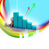 3d man sitting near the bar graph. In color background Royalty Free Stock Photography