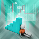 3d man sitting near the bar graph. In color background Stock Photography