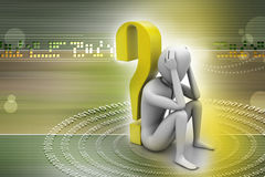 3d man sitting near the question mark. In color background Royalty Free Stock Image