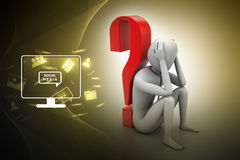 3d man sitting near the question mark Royalty Free Stock Images