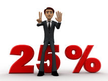 3d man sitting on 25 percentage concept Stock Images