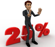 3d man sitting on 25 percentage concept Royalty Free Stock Photos