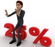 3d man sitting on 25 percentage concept Stock Image