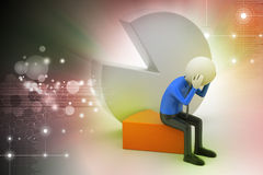 3d man sitting the piece of pie chart Royalty Free Stock Photography