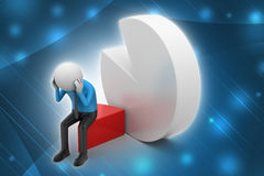 3d man sitting the piece of pie chart Stock Photography
