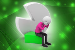 3d man sitting the piece of pie chart Stock Images