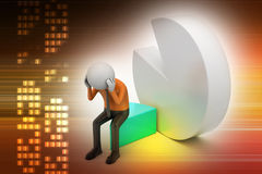 3d man sitting the piece of pie chart Royalty Free Stock Image