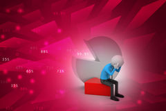 3d man sitting the piece of pie chart Stock Image