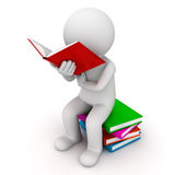 3d man sitting on a pile of books and reading book. Over white background Stock Photos