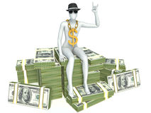 3d man sitting on a pile of money.  Stock Photos
