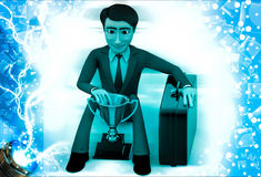3d man sitting with prize cup and suitcase illustration Stock Photo