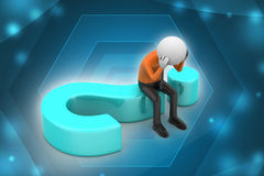 3d man sitting on a question mark. In color background Stock Images
