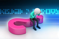 3d man sitting on a question mark. In color background Stock Photo