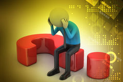 3d man sitting on a question mark Royalty Free Stock Photography