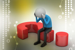 3d man sitting on a question mark Royalty Free Stock Image