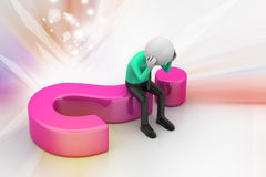 3d man sitting on a question mark Royalty Free Stock Photo