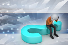 3d man sitting on a question mark. In color background Royalty Free Stock Images