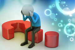 3d man sitting on a question mark Stock Image