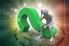 3d man sitting the question mark. In color background Stock Photo
